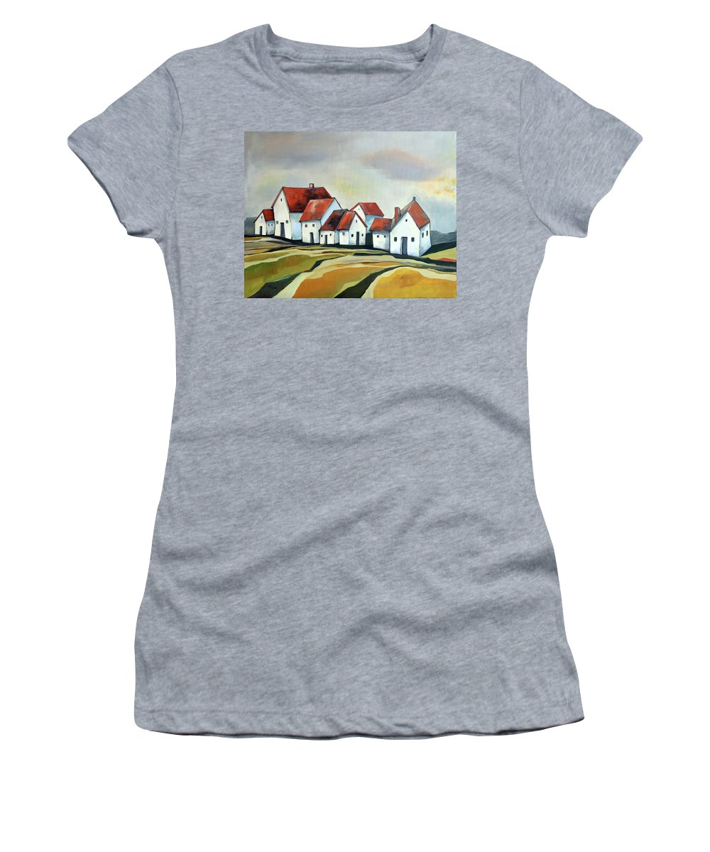 Village Women's T-Shirt featuring the painting The smallest village by Aniko Hencz