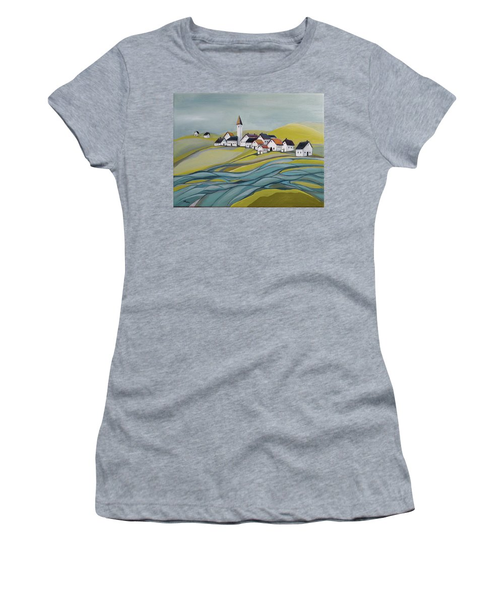Village Women's T-Shirt featuring the painting Village by the river by Aniko Hencz