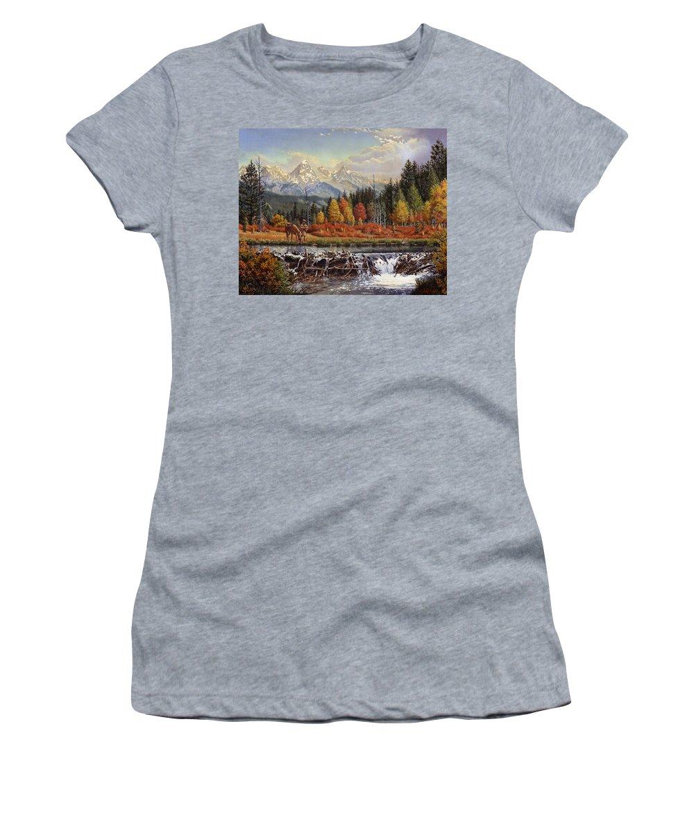 Western Mountain Landscape Women's T-Shirt featuring the painting Western Mountain Landscape Autumn Mountain Man Trapper Beaver Dam Frontier Americana Oil Painting by Walt Curlee