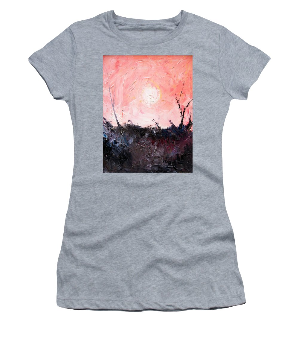 Duck Women's T-Shirt featuring the painting White Sun by Sergey Bezhinets