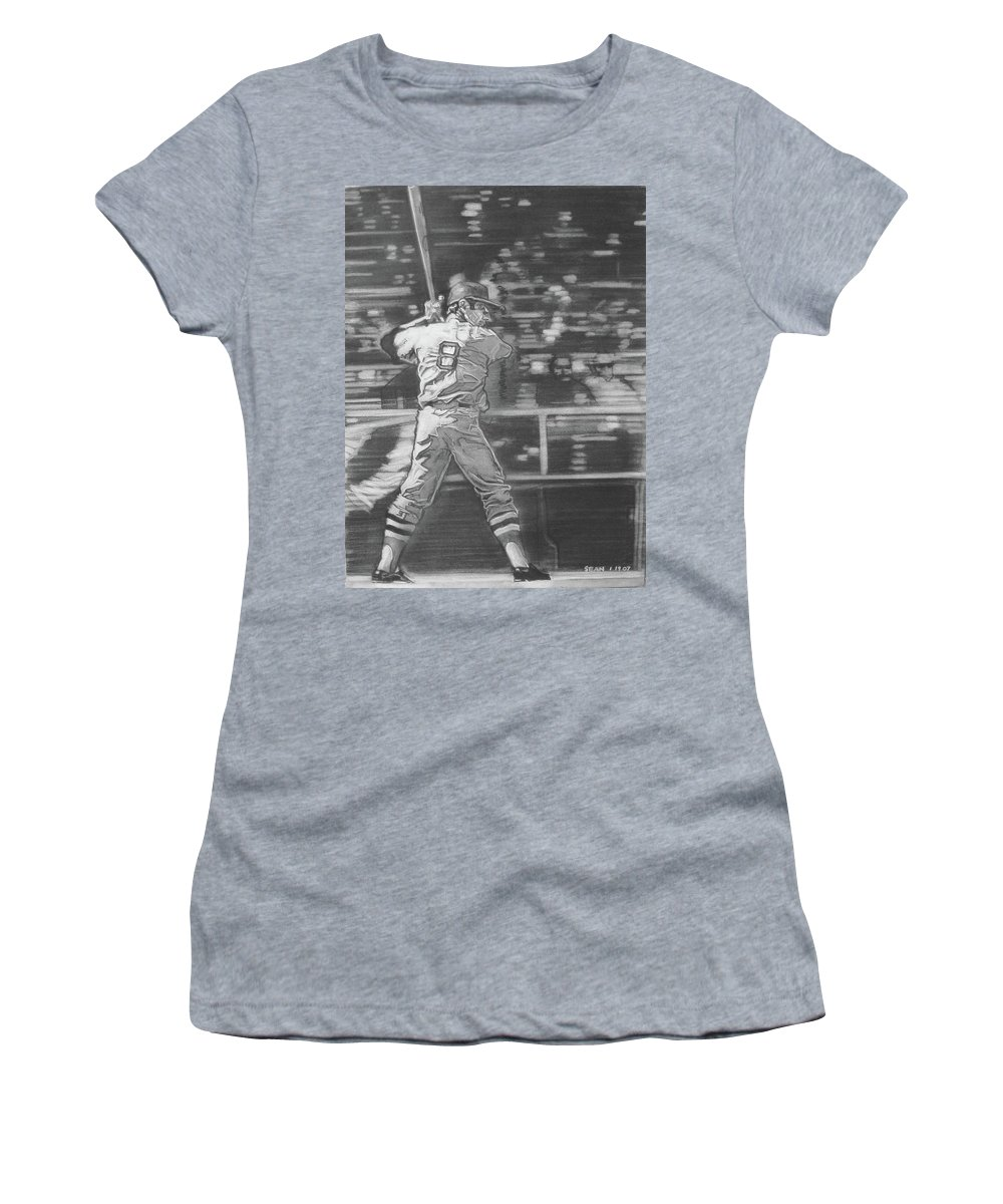 Charcoal On Paper Women's T-Shirt featuring the drawing Yaz - Carl Yastrzemski by Sean Connolly