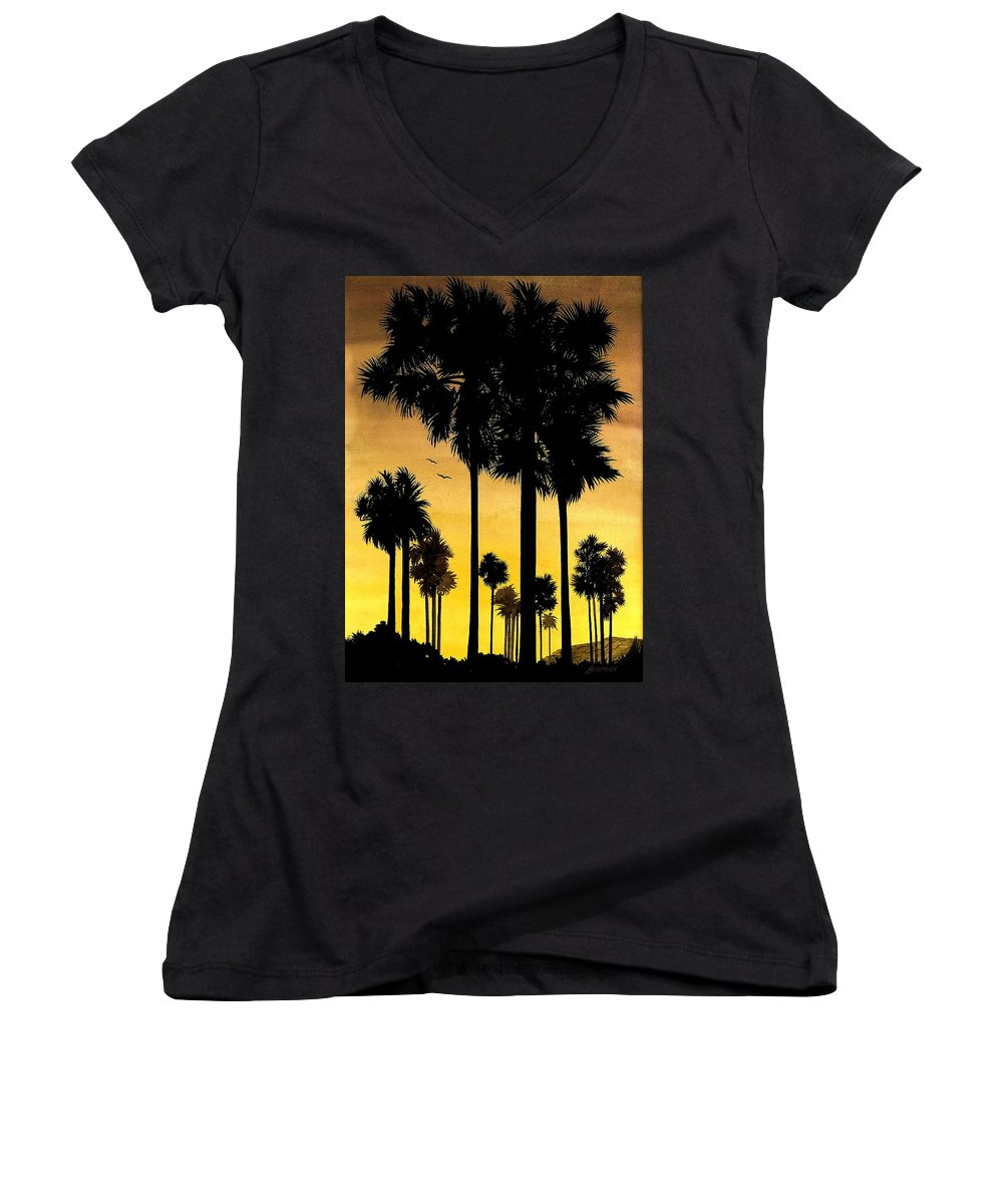 San Diego Sunset Women's V-Neck T-Shirt featuring the painting San Diego Sunset by Larry Lehman