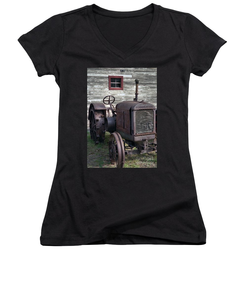 Farm Tractor Women's V-Neck (Athletic Fit) featuring the photograph The Old Mule by Richard Rizzo