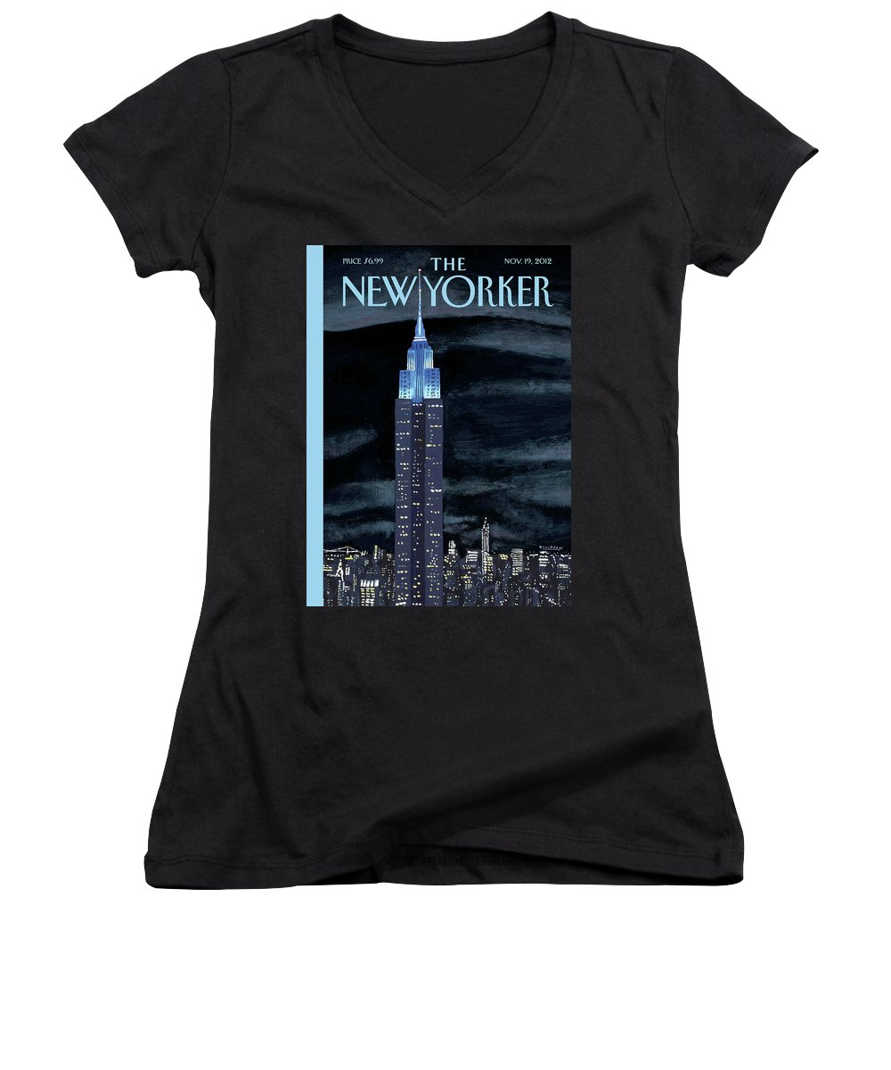 New York City Women's V-Neck featuring the painting Rhapsody In Blue by Mark Ulriksen