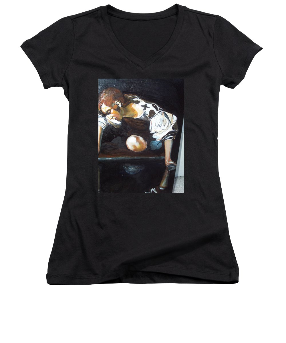 Women's V-Neck (Athletic Fit) featuring the painting Detail by Jude Darrien