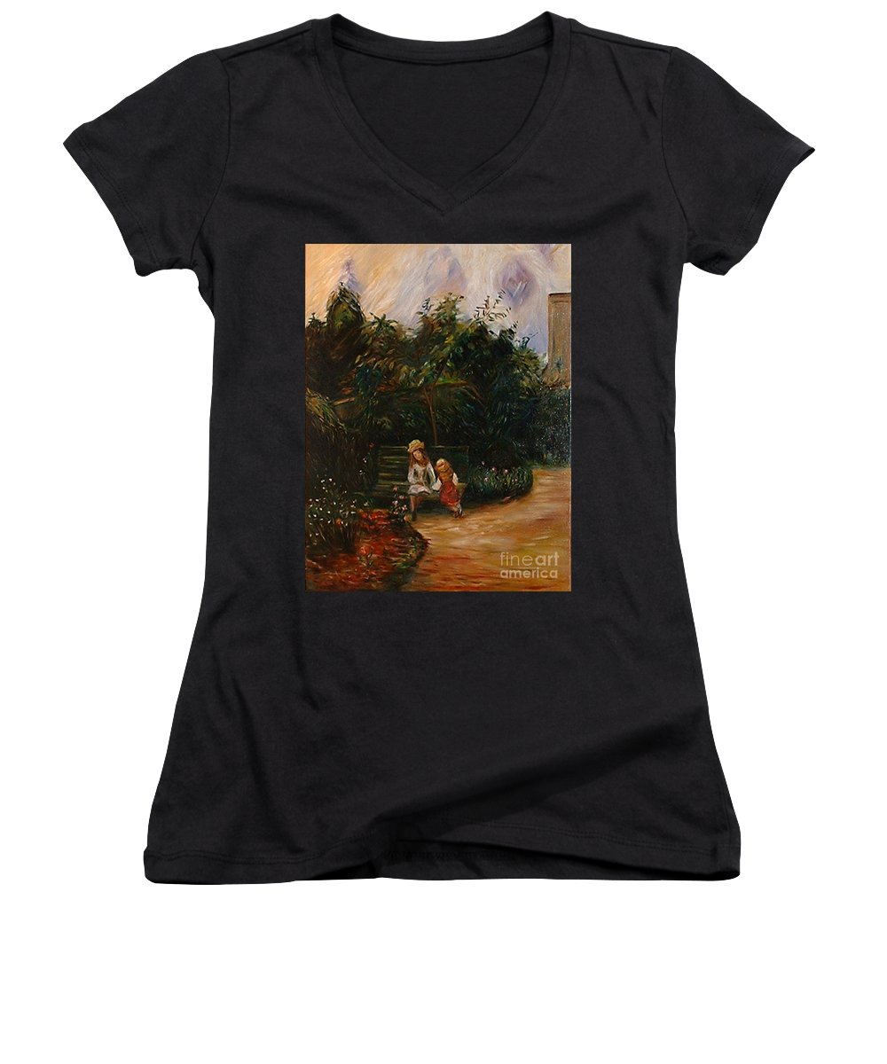 Classic Art Women's V-Neck T-Shirt featuring the painting A Corner Of The Garden At The Hermitage by Silvana Abel