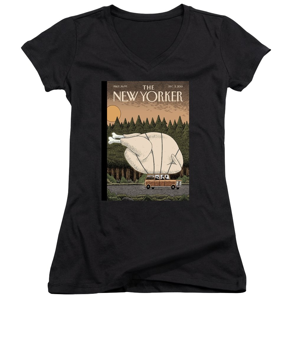 Thanksgiving Women's V-Neck featuring the painting A Family Rides Home With A Giant Turkey Tied by Tom Gauld