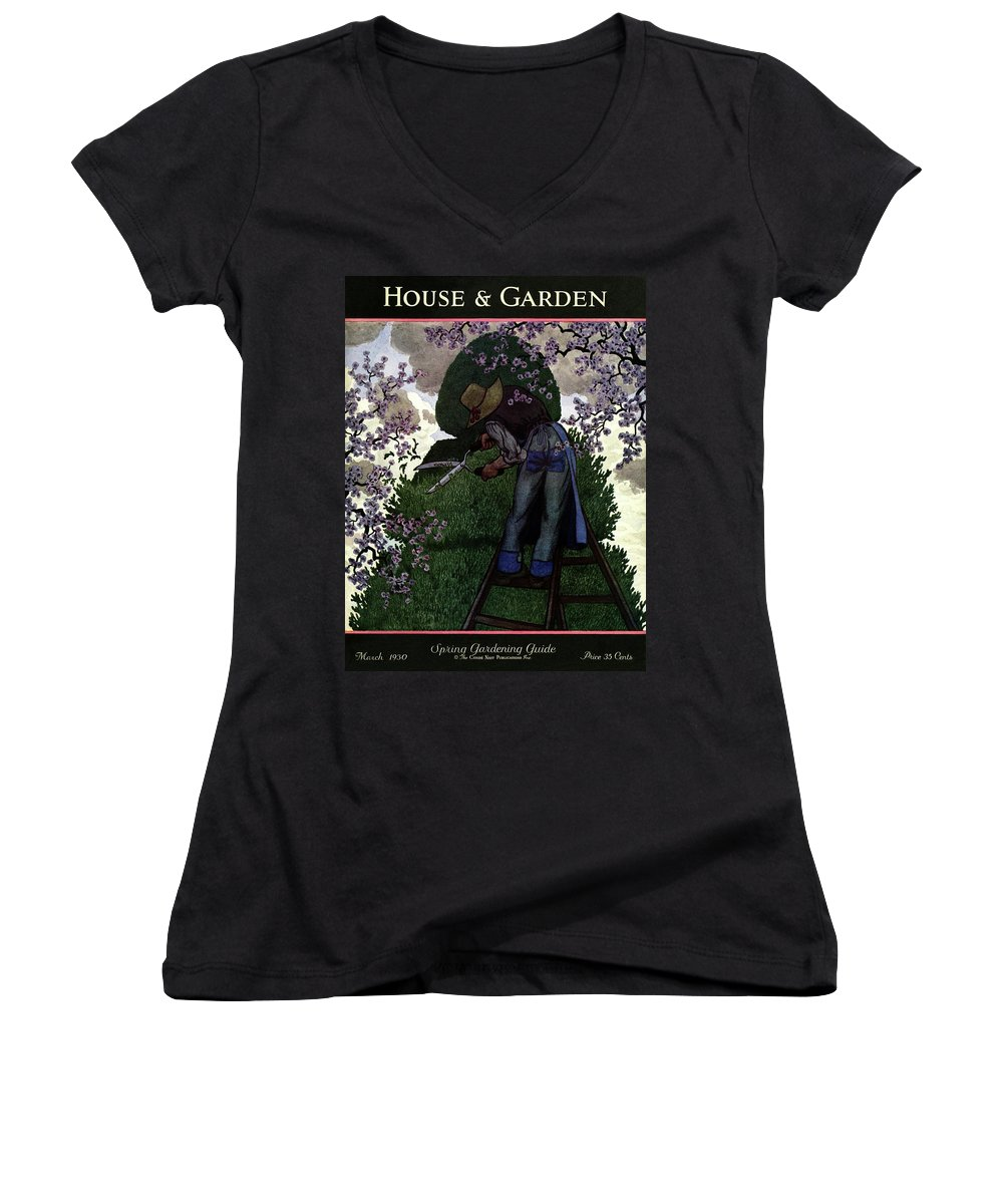 House And Garden Women's V-Neck featuring the photograph A Gardener Pruning A Tree by Pierre Brissaud