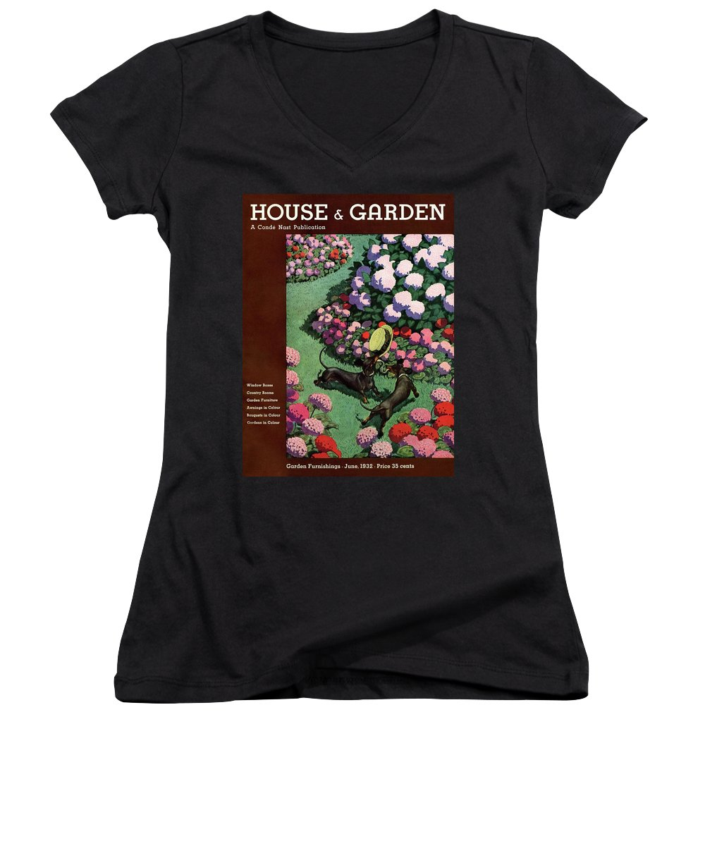 Illustration Women's V-Neck featuring the photograph A House And Garden Cover Of Dachshunds With A Hat by Pierre Brissaud