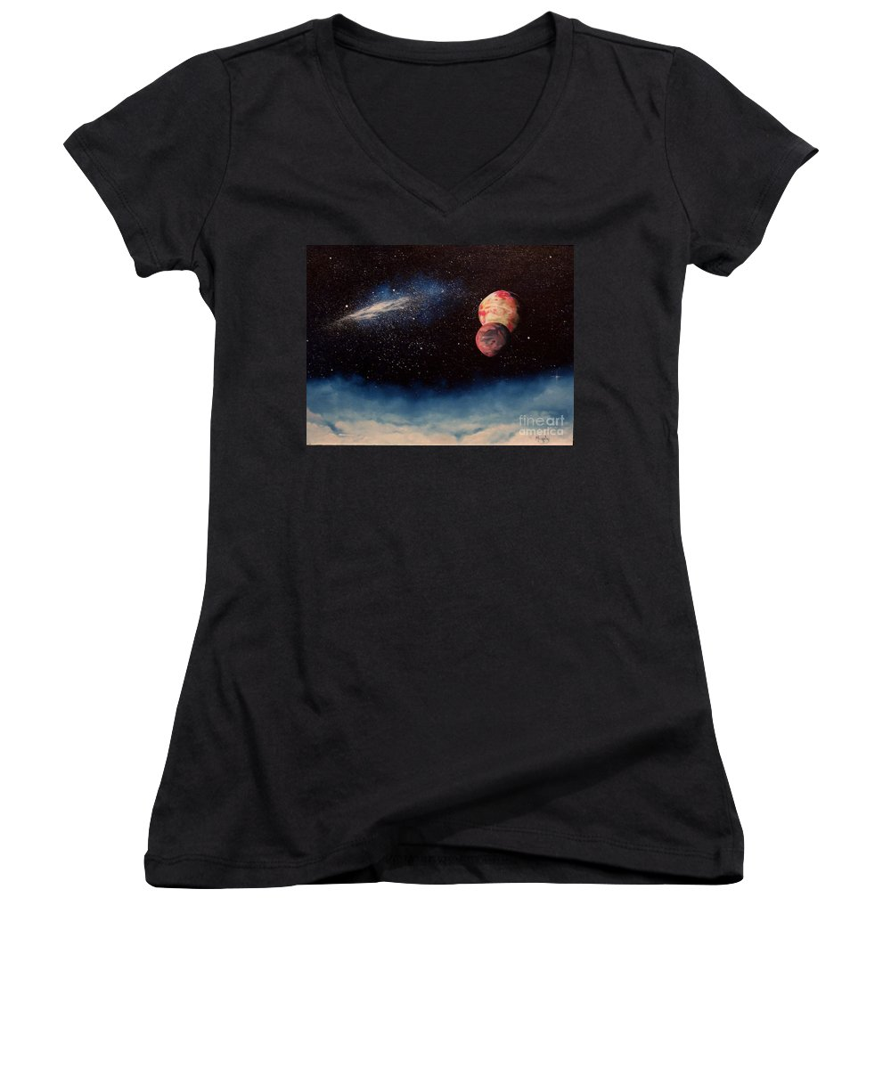 Landscape Women's V-Neck (Athletic Fit) featuring the painting Above Alien Clouds by Murphy Elliott
