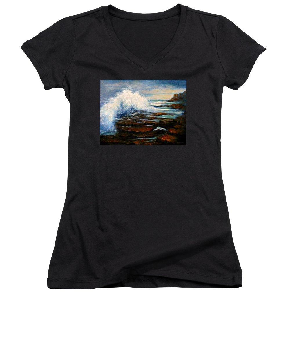 Seascape Women's V-Neck (Athletic Fit) featuring the painting After The Storm by Gail Kirtz