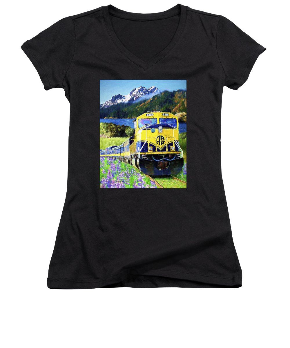 Railroad Women's V-Neck (Athletic Fit) featuring the painting Alaska Railroad by David Wagner