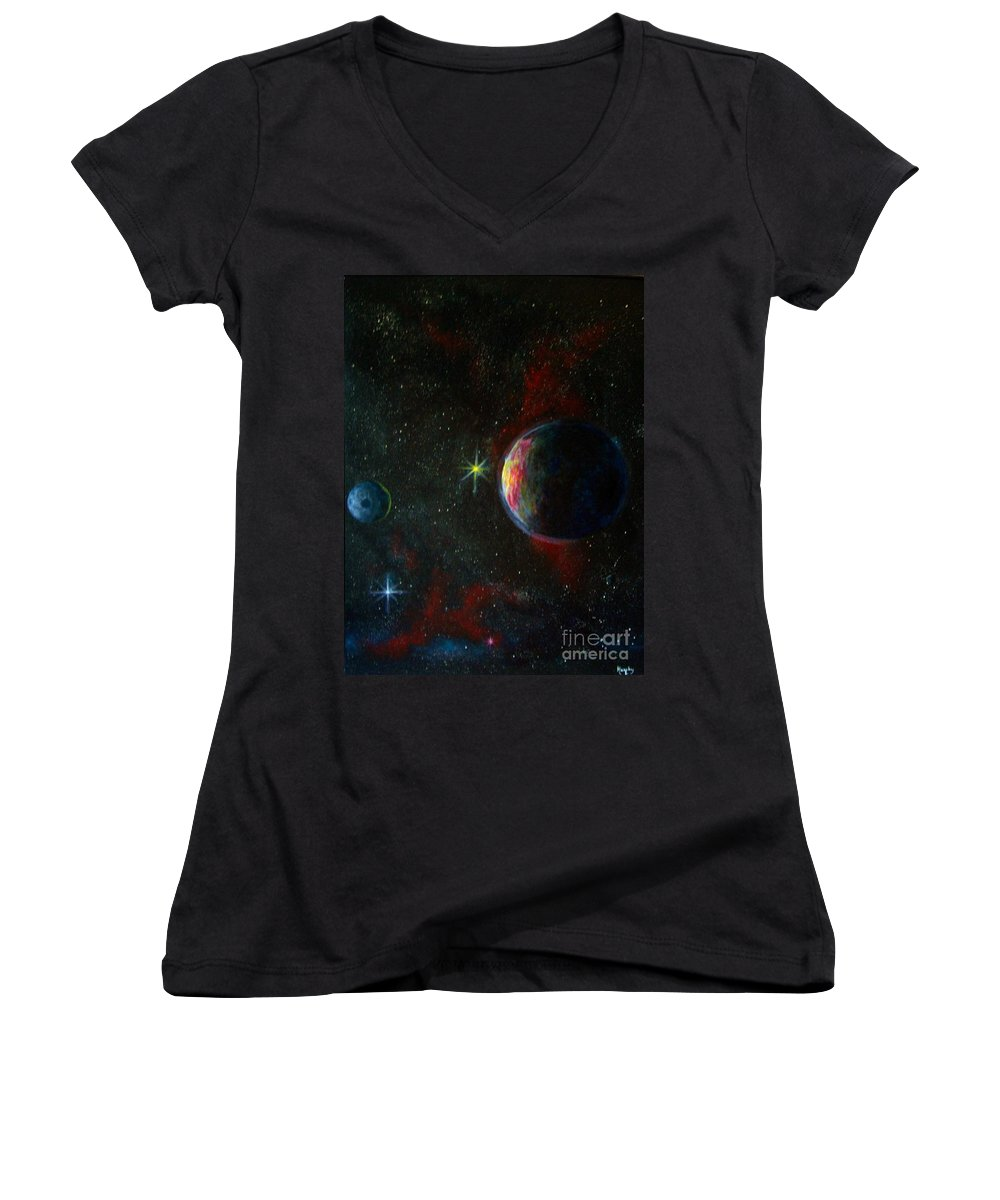 Cosmos Women's V-Neck T-Shirt featuring the painting Alien Worlds by Murphy Elliott