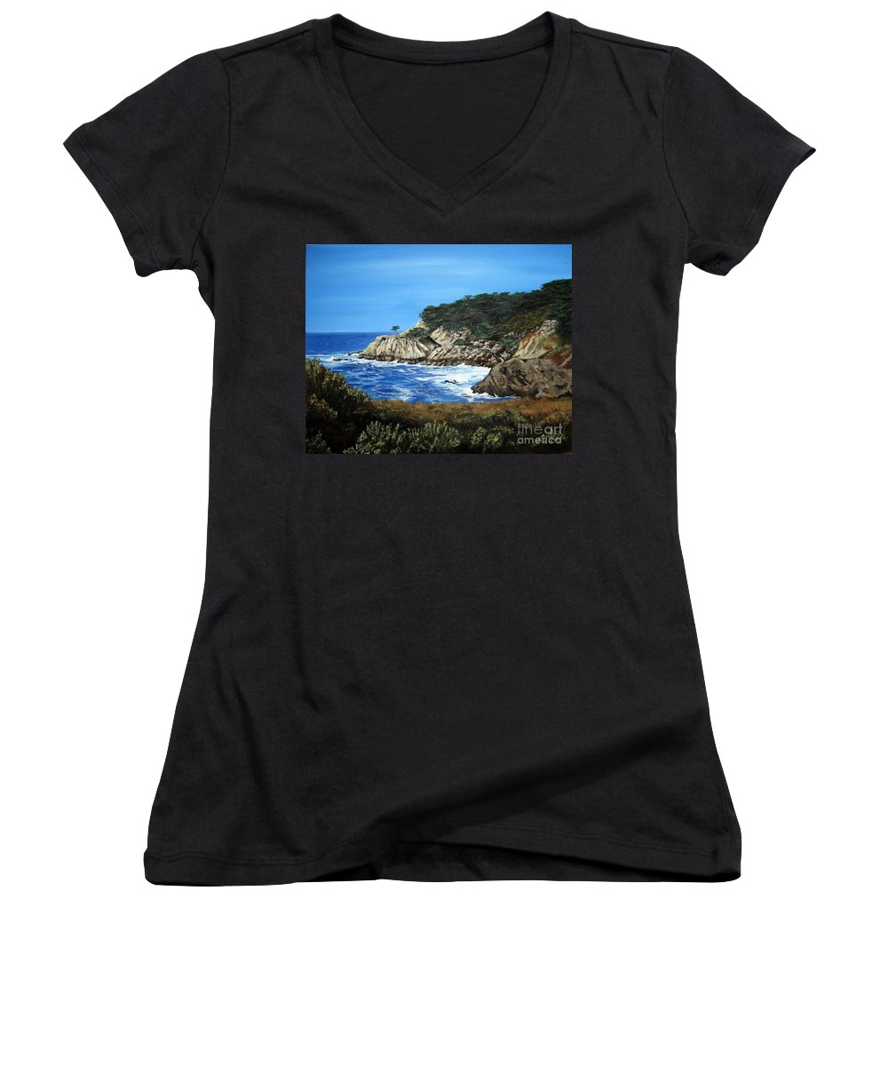Landscape Women's V-Neck T-Shirt featuring the painting Along The California Coast by Mary Rogers
