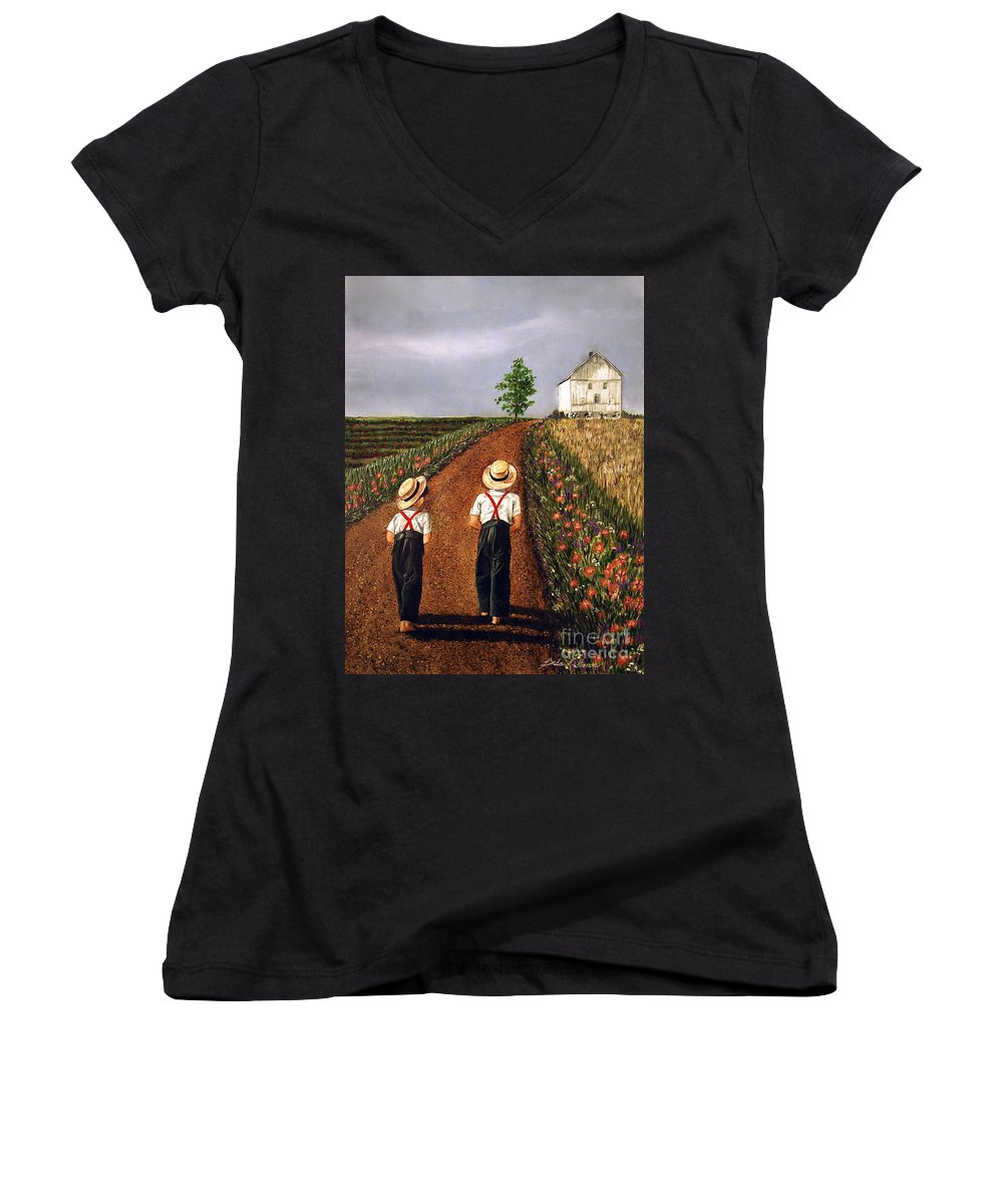 Lifestyle Women's V-Neck T-Shirt featuring the painting Amish Road by Linda Simon