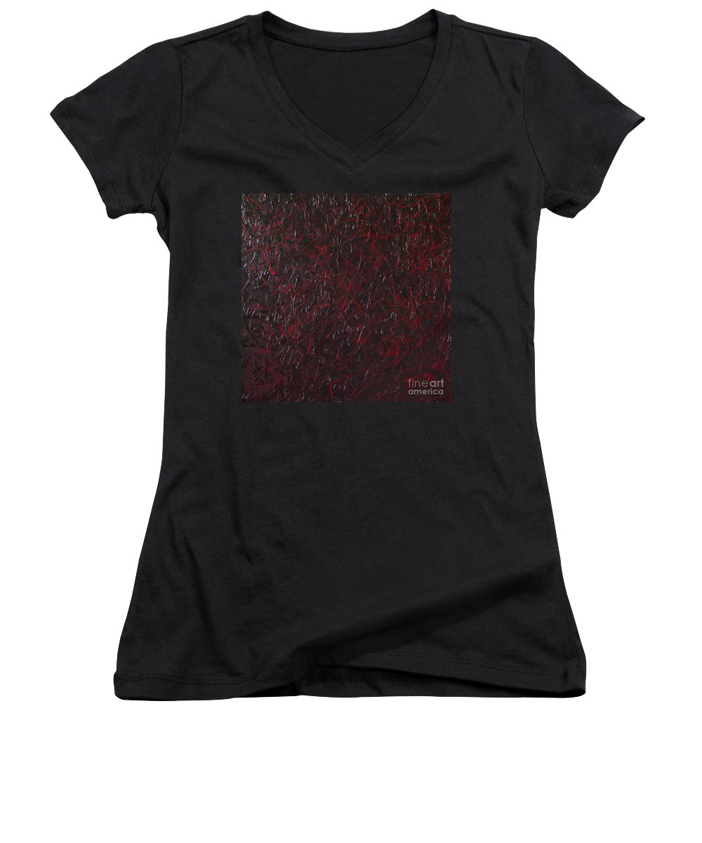 Abstract Women's V-Neck (Athletic Fit) featuring the painting Another Shedding by Dean Triolo