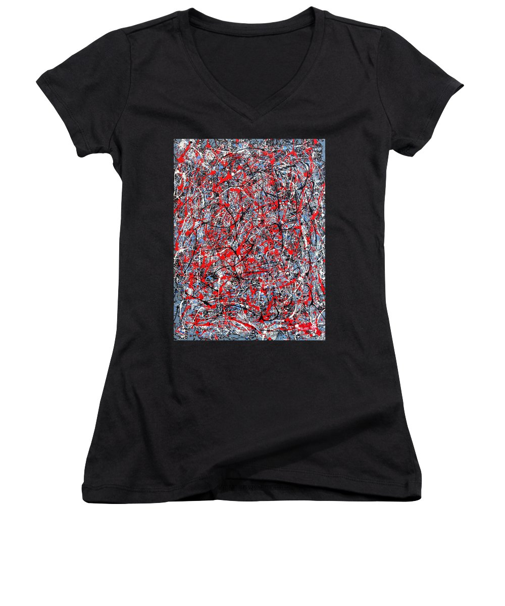 Abstract Women's V-Neck (Athletic Fit) featuring the painting Astral Gate 2001 by RalphGM
