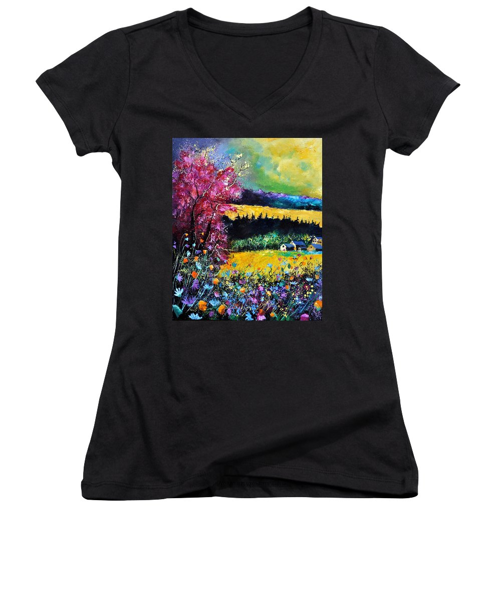 Landscape Women's V-Neck (Athletic Fit) featuring the painting Autumn Flowers by Pol Ledent