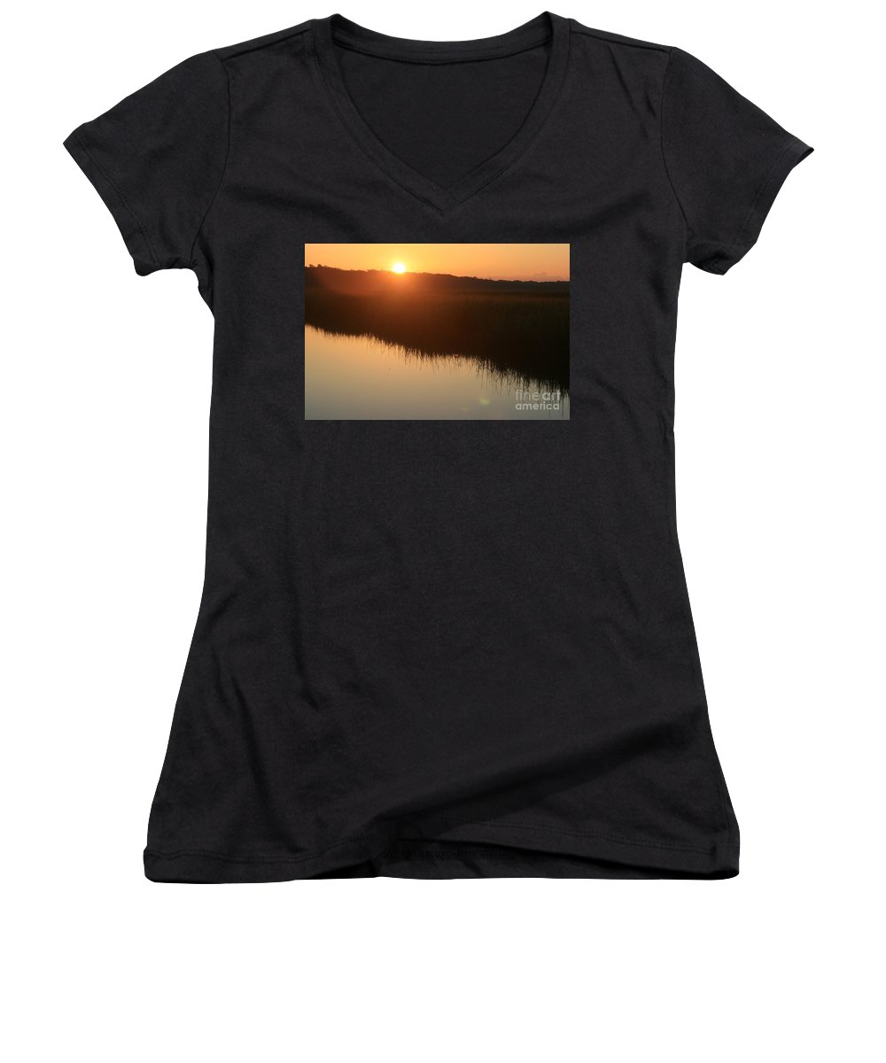 Sunrise Women's V-Neck (Athletic Fit) featuring the photograph Autumn Sunrise Over The Marsh by Nadine Rippelmeyer