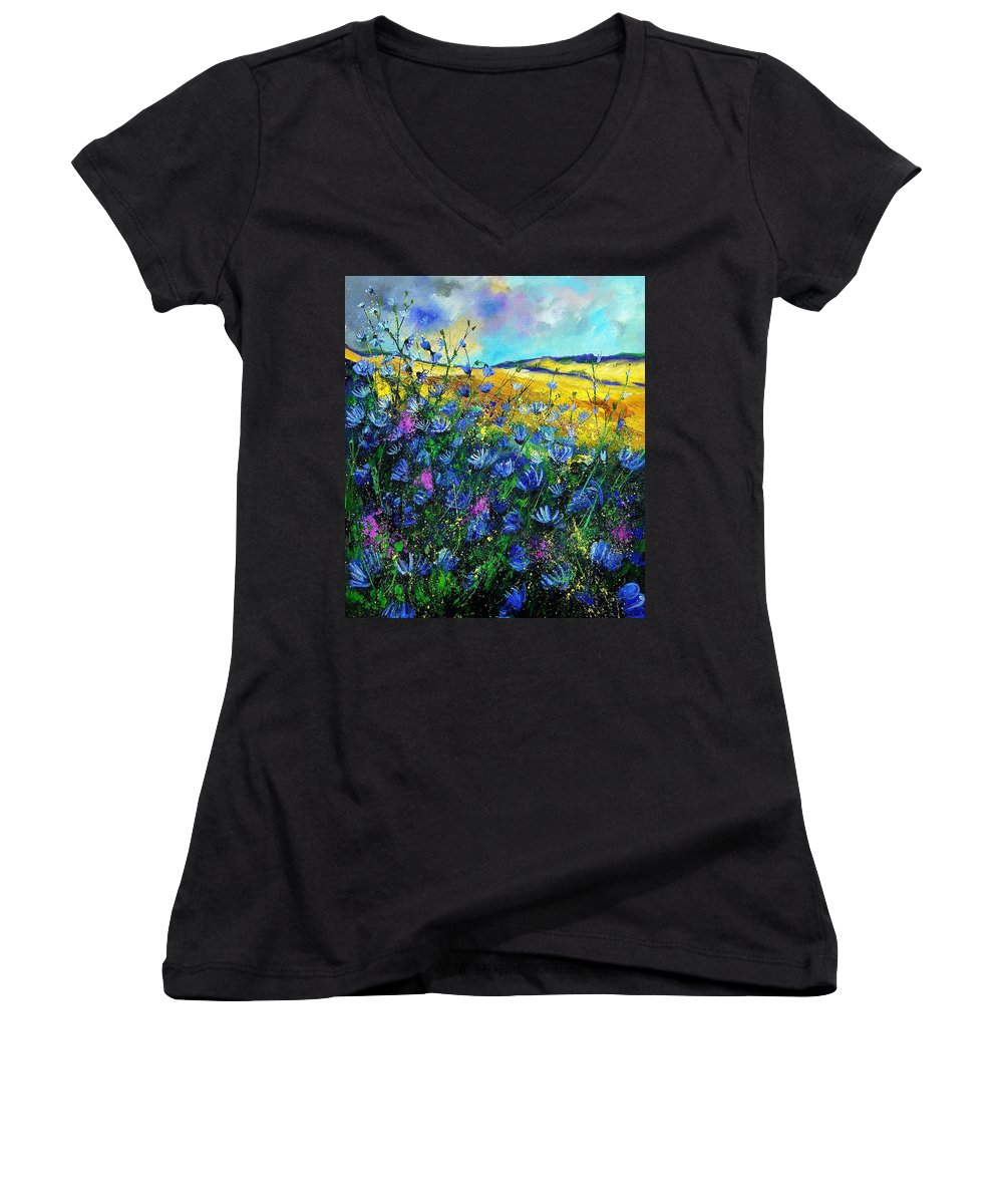 Flowers Women's V-Neck T-Shirt featuring the painting Blue Wild Chicorees by Pol Ledent