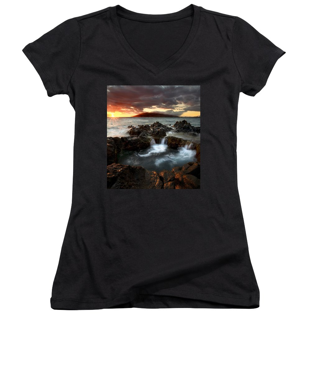 Sunset Women's V-Neck (Athletic Fit) featuring the photograph Bubbling Cauldron by Mike Dawson