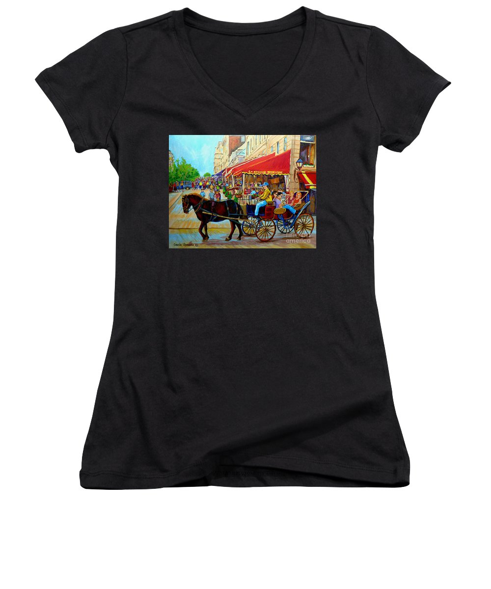 Cafe La Grande Terrasse Women's V-Neck (Athletic Fit) featuring the painting Cafe La Grande Terrasse by Carole Spandau