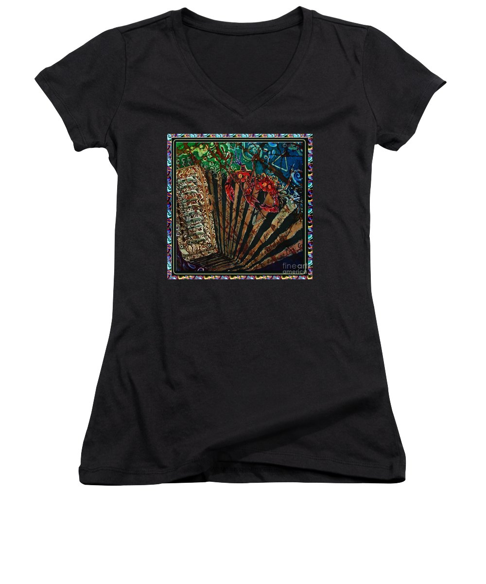 Acadian Women's V-Neck (Athletic Fit) featuring the painting Cajun Accordian - Bordered by Sue Duda