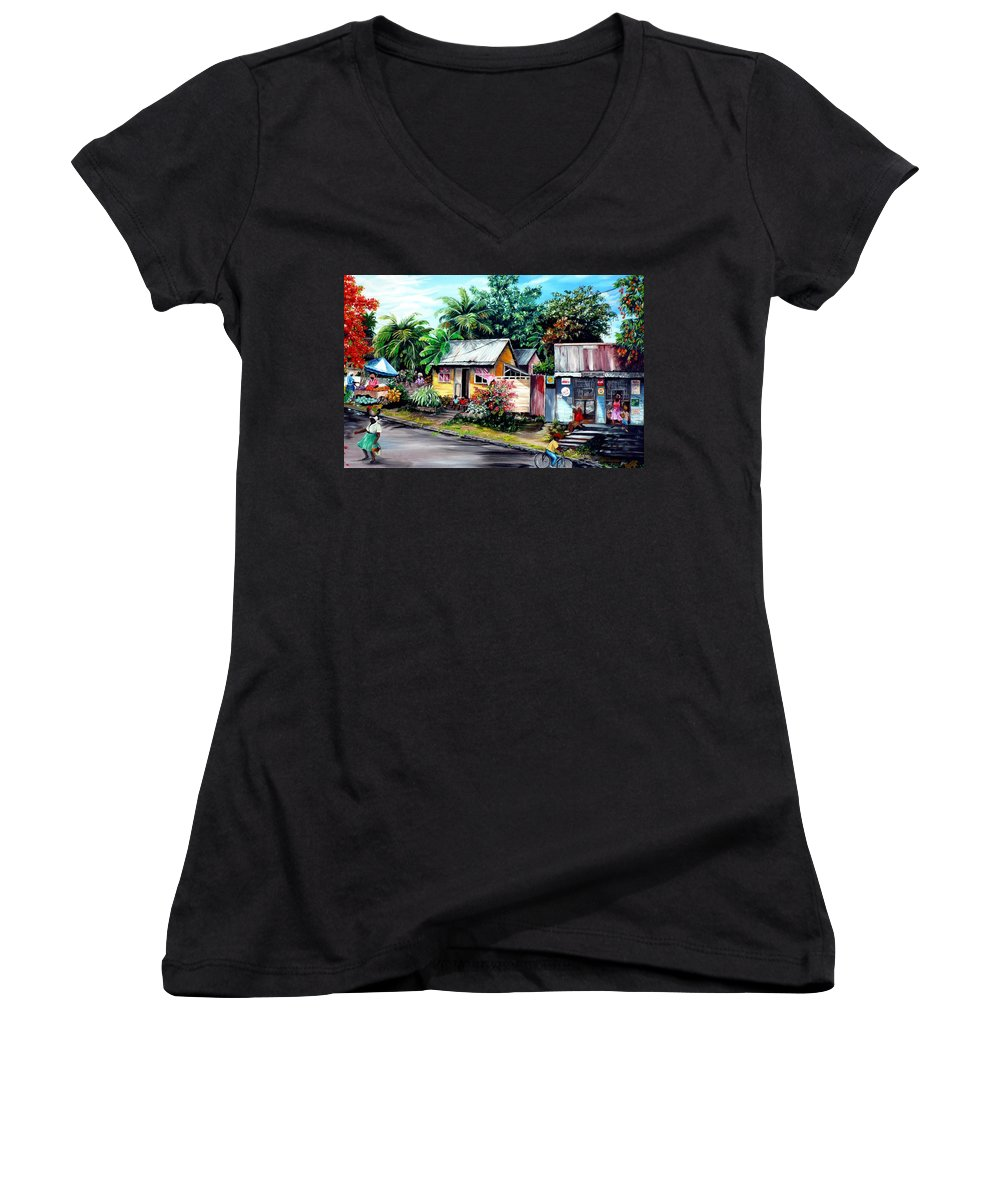 Landscape Painting Caribbean Painting Shop Trinidad Tobago Poinciana Painting Market Caribbean Market Painting Tropical Painting Women's V-Neck T-Shirt featuring the painting Chins Parlour   by Karin Dawn Kelshall- Best