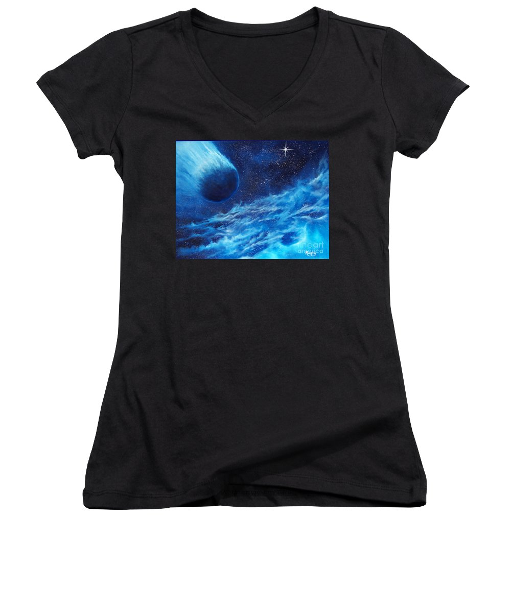 Astro Women's V-Neck T-Shirt featuring the painting Comet Experience by Murphy Elliott