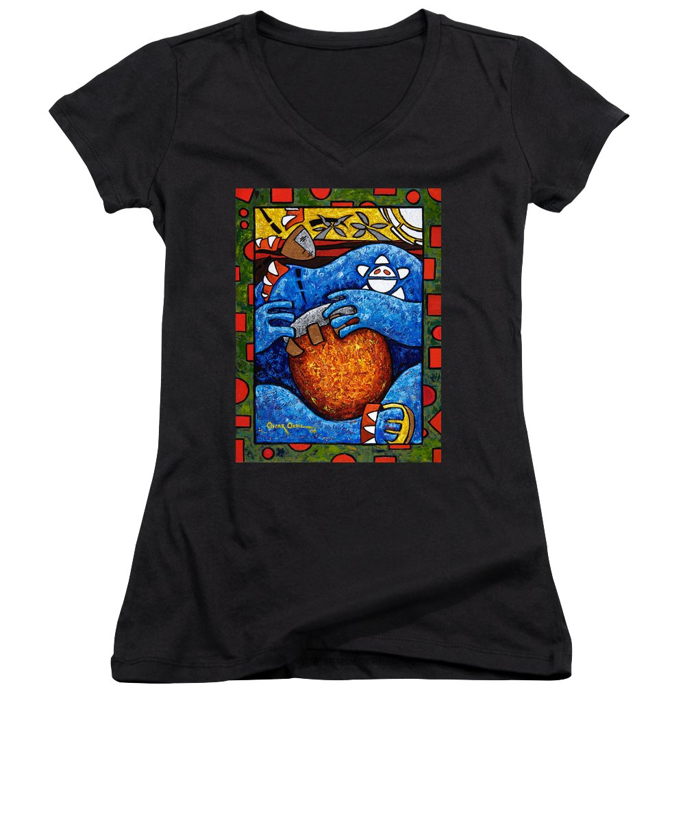 Puerto Rico Women's V-Neck (Athletic Fit) featuring the painting Conga On Fire by Oscar Ortiz