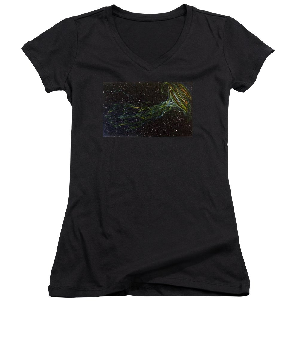Abstract Women's V-Neck (Athletic Fit) featuring the painting Death Throes by Sean Connolly