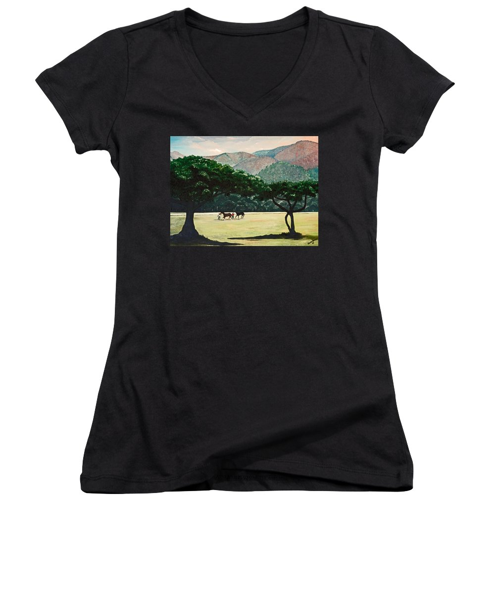 Trees Women's V-Neck (Athletic Fit) featuring the painting Early Morning Savannah by Karin Dawn Kelshall- Best
