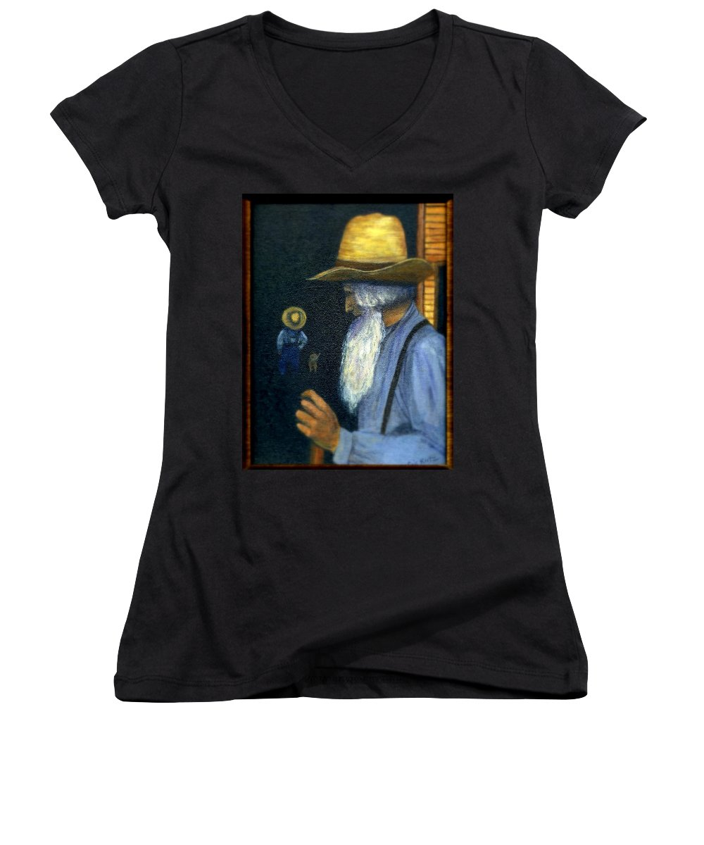 Men Women's V-Neck (Athletic Fit) featuring the painting Eli Remembers by Gail Kirtz