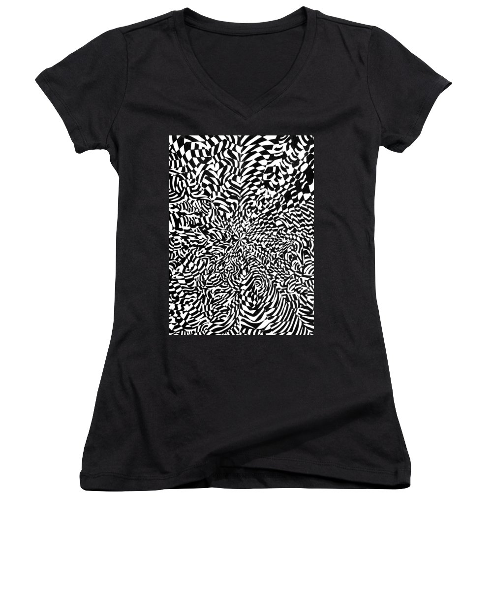 Abstract Women's V-Neck T-Shirt featuring the drawing Entangle by Crystal Hubbard