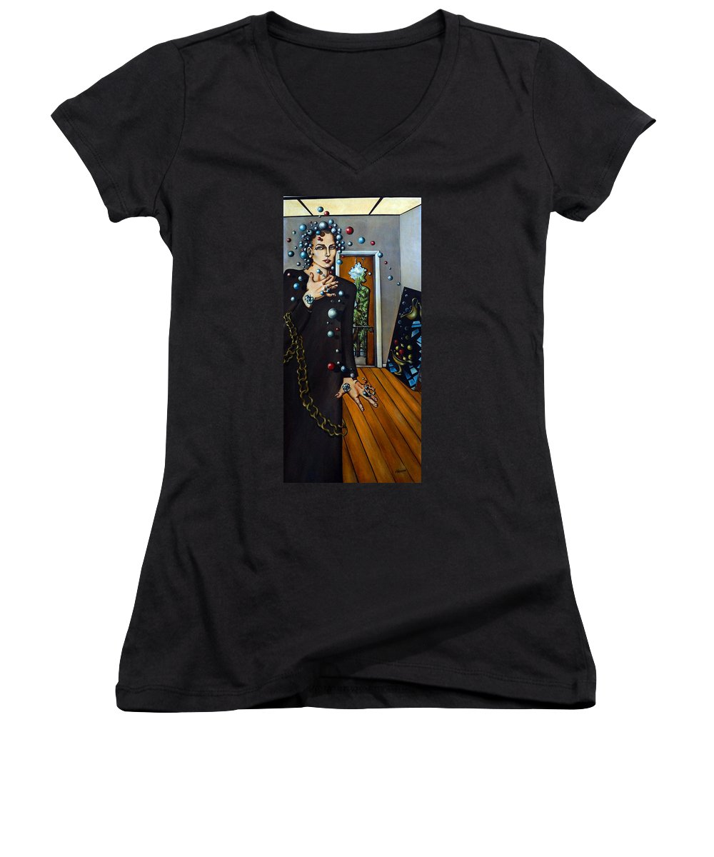 Surreal Women's V-Neck (Athletic Fit) featuring the painting Existential Thought by Valerie Vescovi