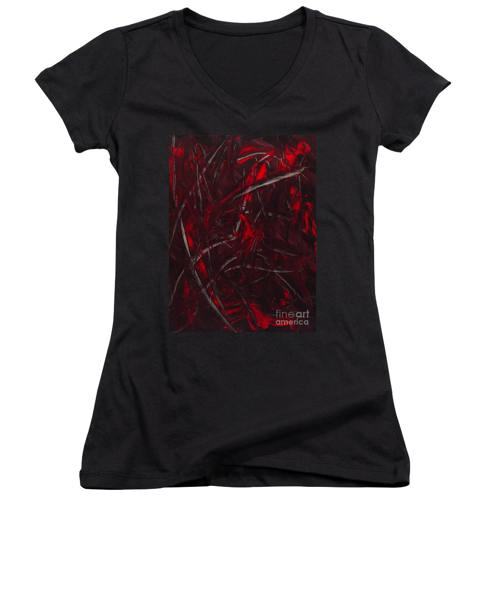 Abstract Women's V-Neck T-Shirt featuring the painting Expectations Red by Dean Triolo