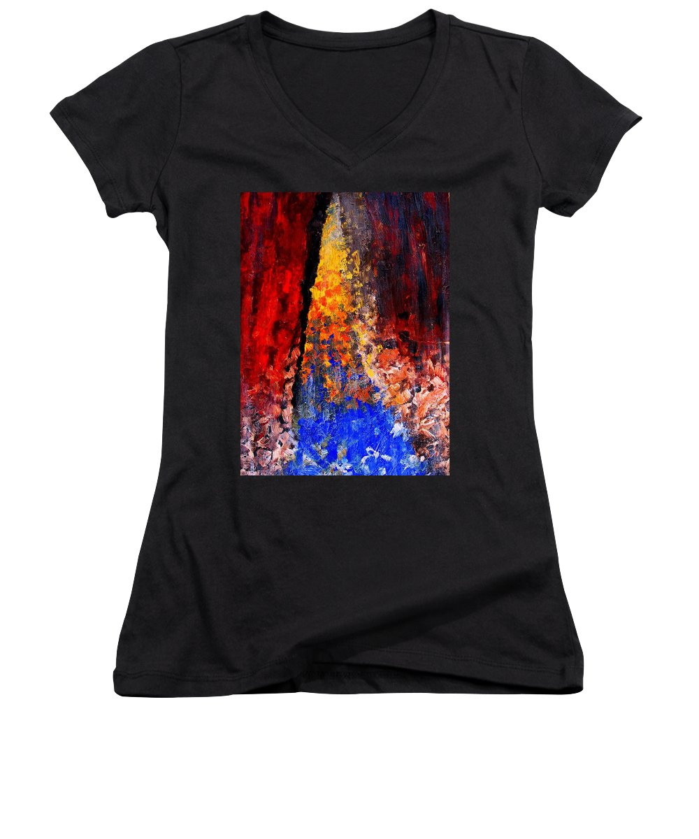 Abstract Women's V-Neck (Athletic Fit) featuring the painting Falling by Ian MacDonald