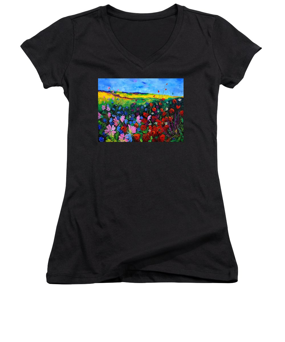 Poppies Women's V-Neck (Athletic Fit) featuring the painting Field Flowers by Pol Ledent