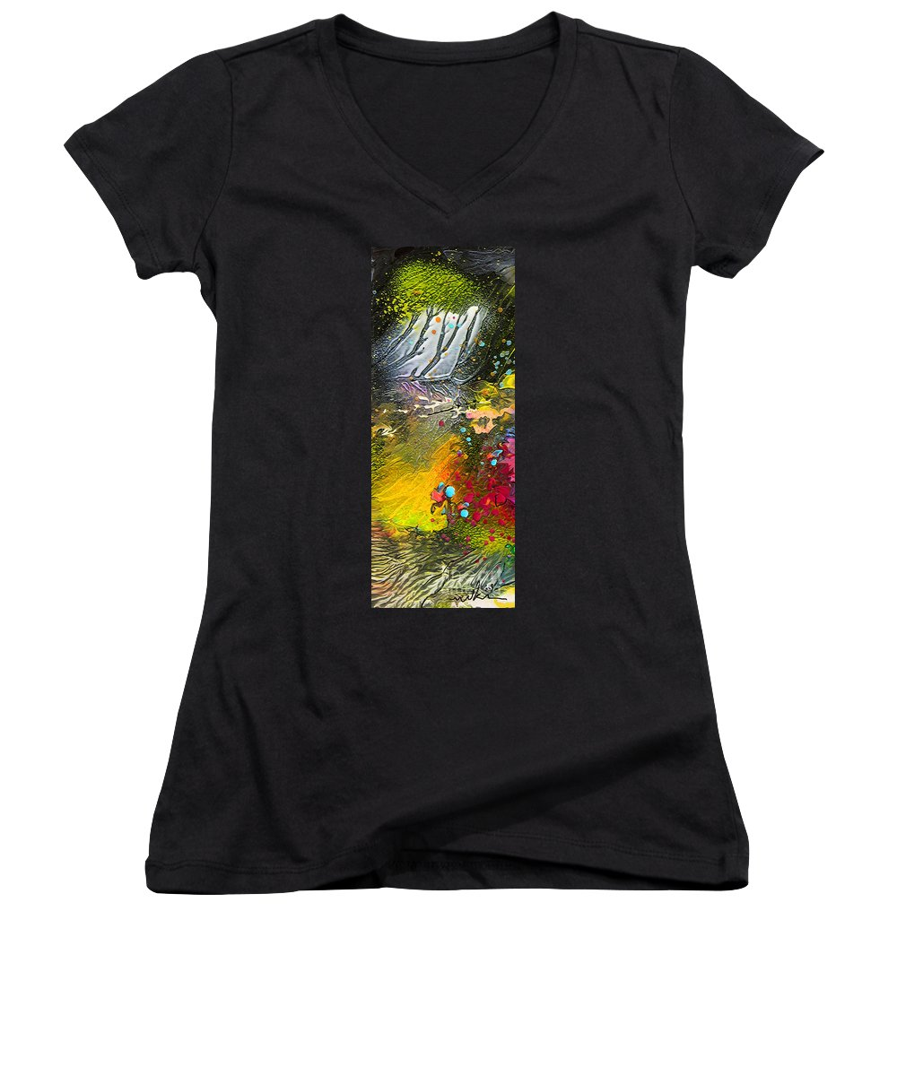 Miki Women's V-Neck T-Shirt featuring the painting First Light by Miki De Goodaboom