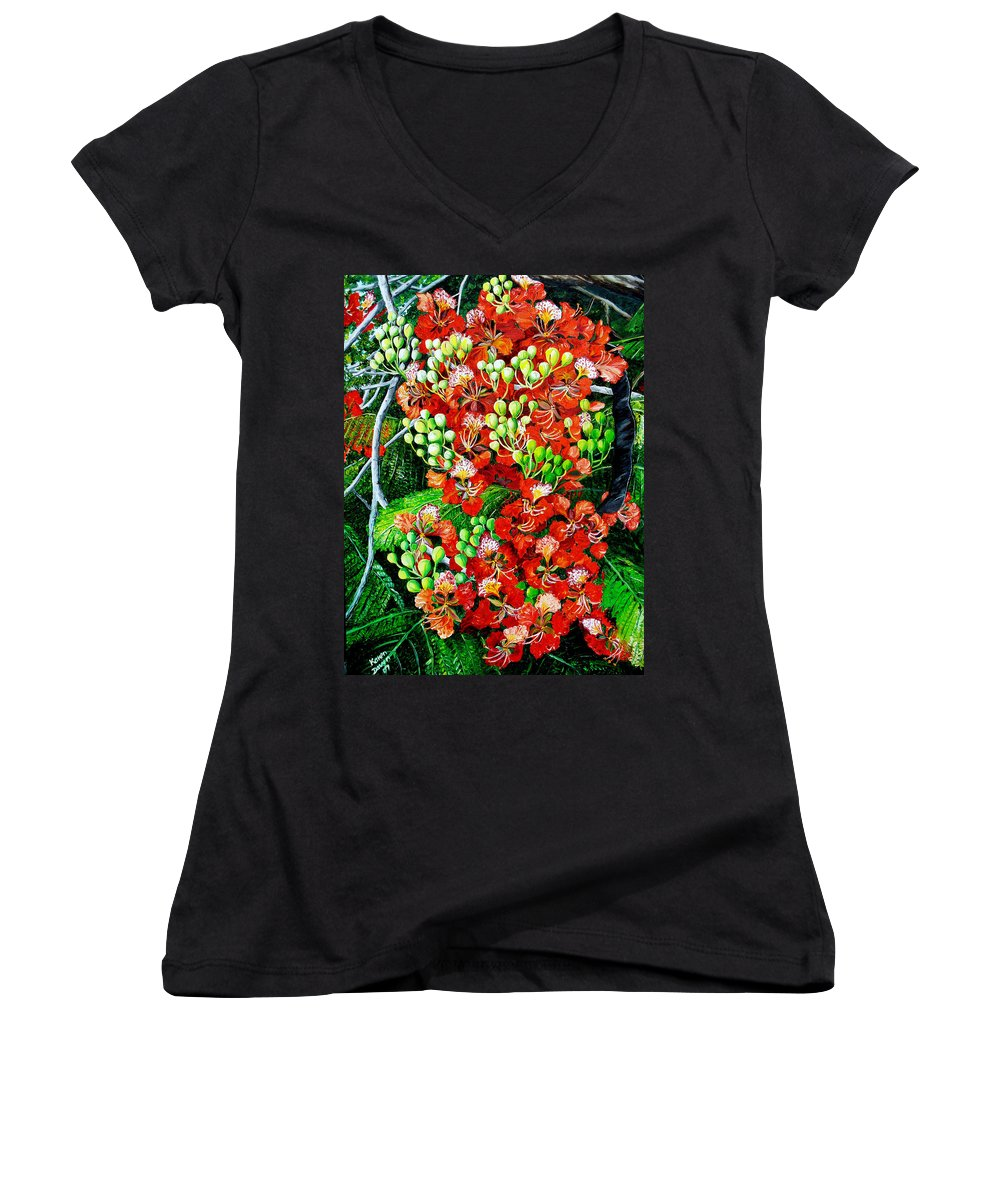 Royal Poincianna Painting Flamboyant Painting Tree Painting Botanical Tree Painting Flower Painting Floral Painting Bloom Flower Red Tree Tropical Paintinggreeting Card Painting Women's V-Neck T-Shirt featuring the painting Flamboyant In Bloom by Karin Dawn Kelshall- Best