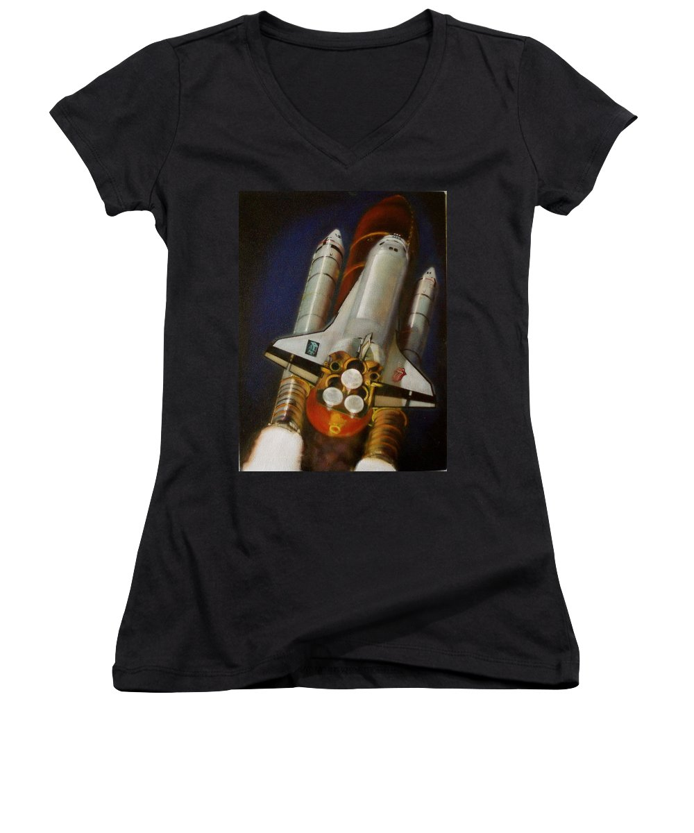 Space Shuttle;launch;liftoff;blastoff;rockets;engines;astronauts;spaceart;nasa;photorealism Women's V-Neck (Athletic Fit) featuring the painting God Plays Dice by Sean Connolly