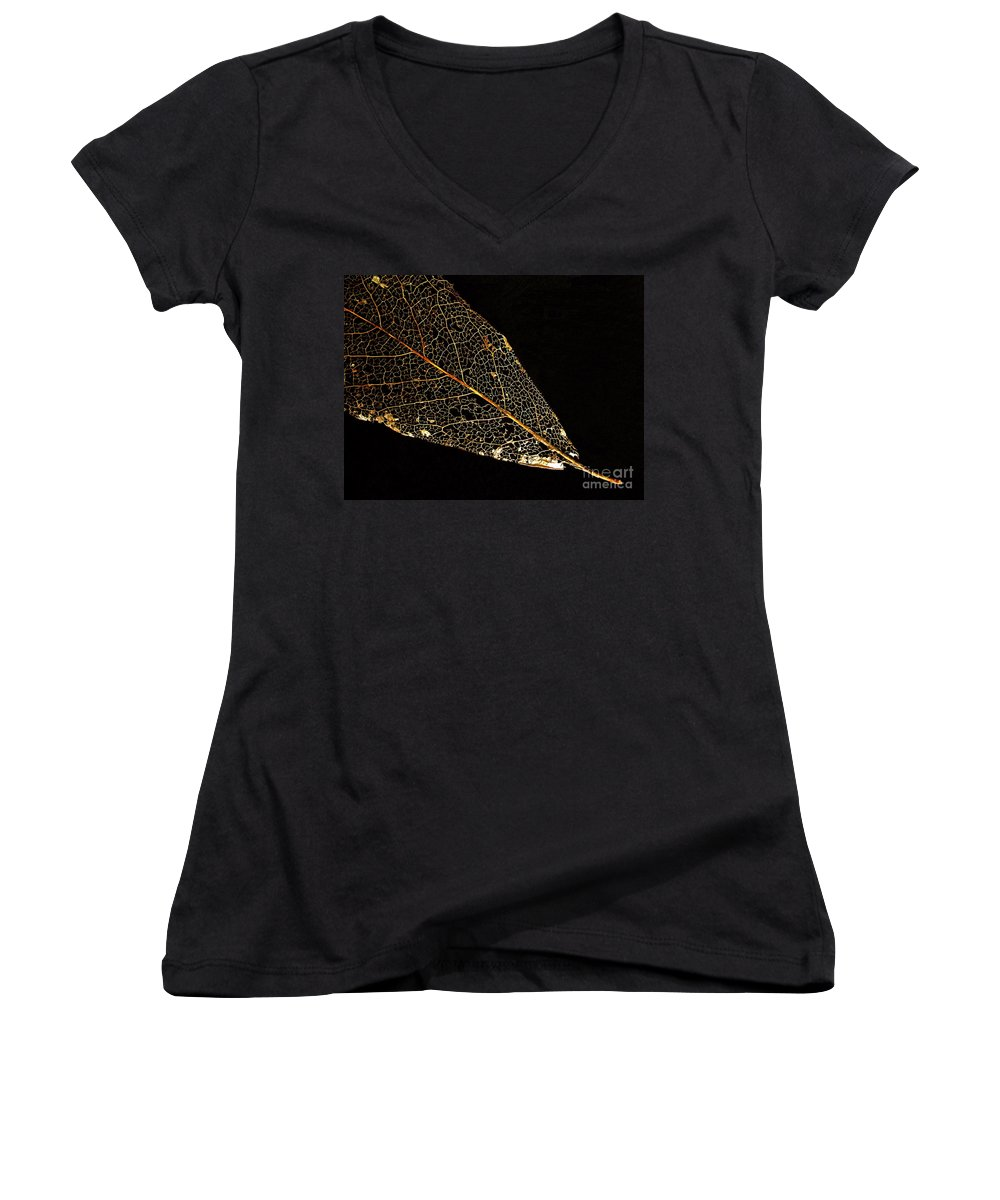Leaf Women's V-Neck (Athletic Fit) featuring the photograph Gold Leaf by Ann Horn