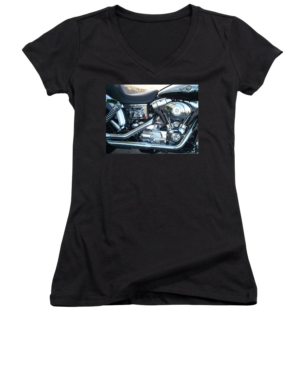 Motorcycles Women's V-Neck T-Shirt featuring the photograph Harley Black And Silver Sideview by Anita Burgermeister