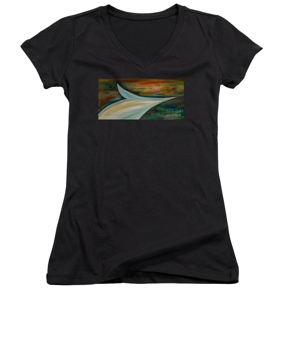 Abstract Women's V-Neck (Athletic Fit) featuring the painting Heaven by Silvana Abel