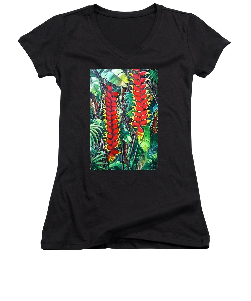 Heliconia Painting Hanging Red Heliconia Tropical Painting Women's V-Neck (Athletic Fit) featuring the painting Heliconia Rostrata by Karin Dawn Kelshall- Best