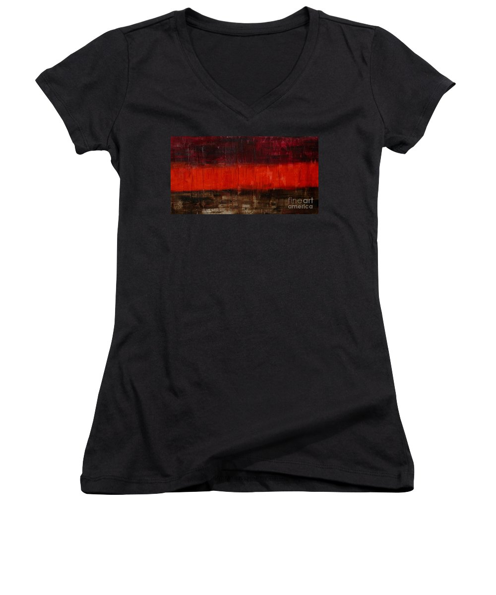 Modern Art Women's V-Neck T-Shirt featuring the painting High Energy by Silvana Abel