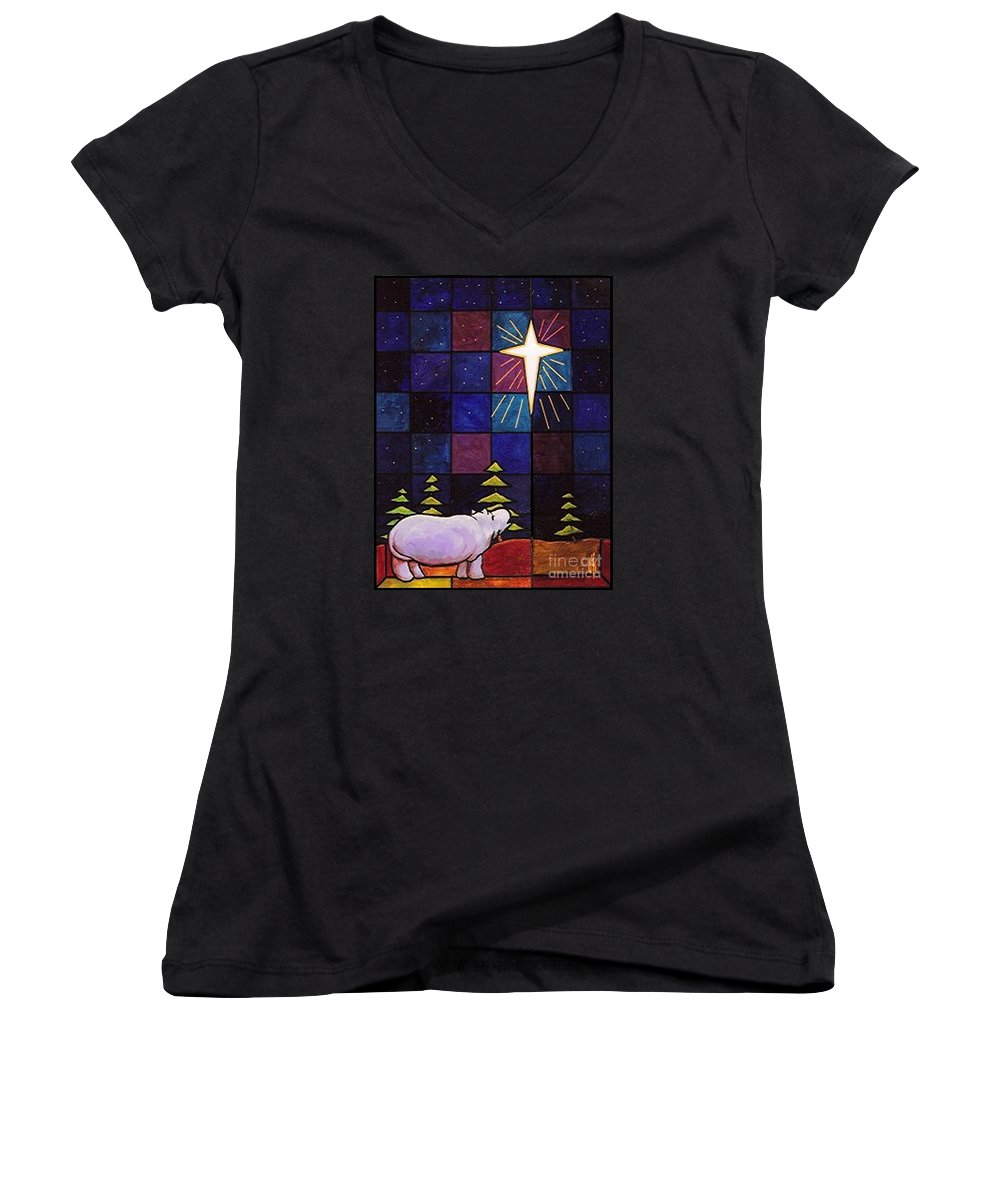 Christmas Women's V-Neck T-Shirt featuring the painting Hippo Awe And Wonder by Jim Harris