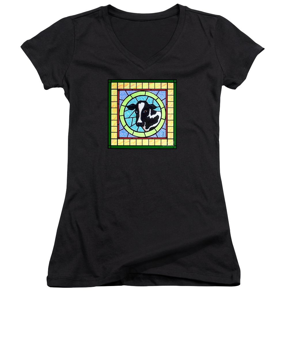Cattle Women's V-Neck T-Shirt featuring the painting Holstein 4 by Jim Harris