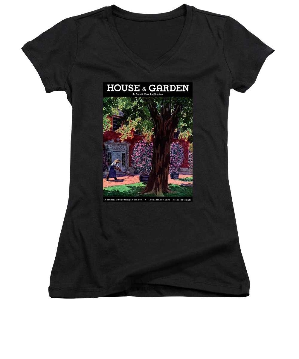House & Garden Women's V-Neck featuring the photograph House & Garden Cover Illustration Of A Gardener by Pierre Brissaud
