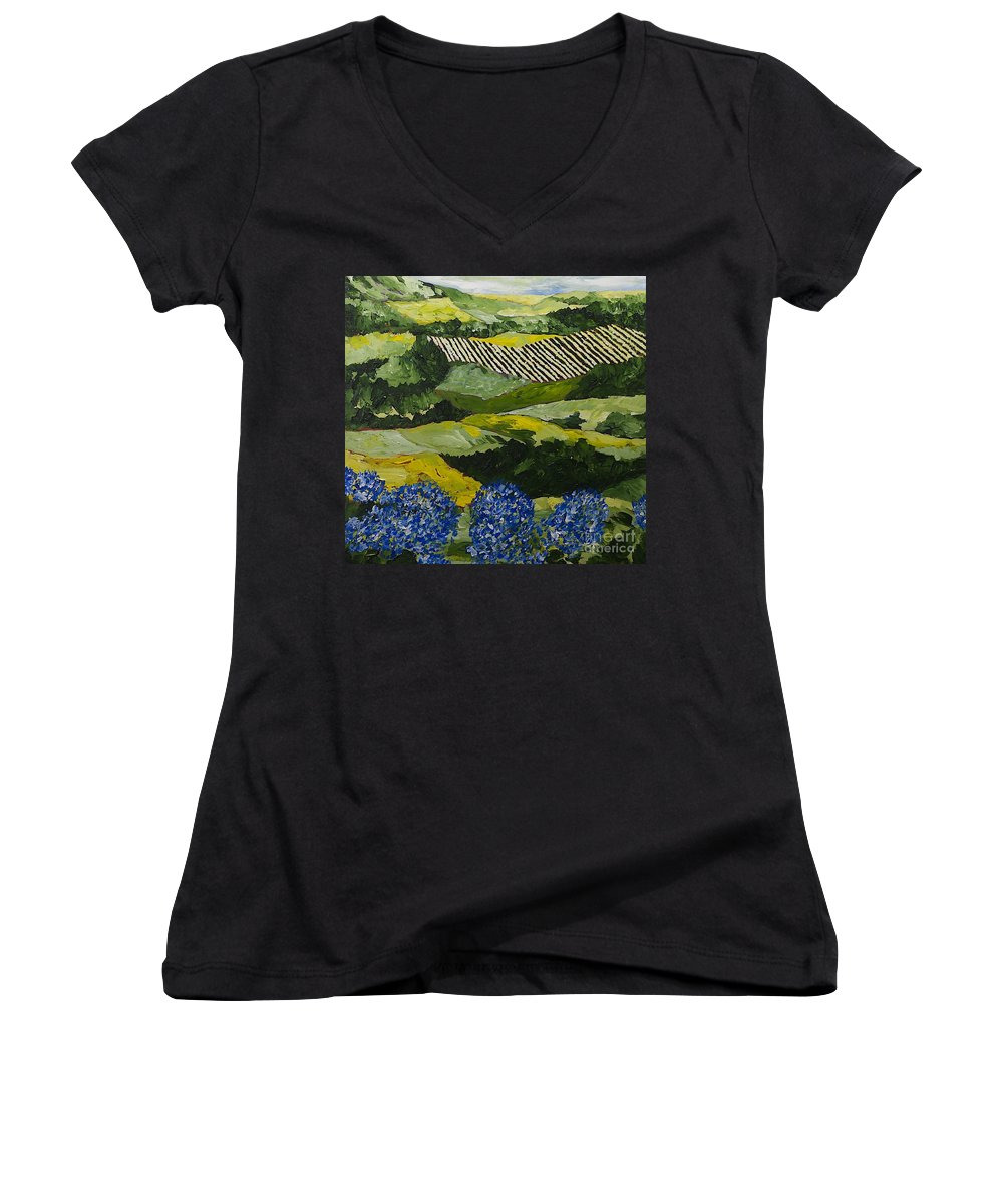 Landscape Women's V-Neck T-Shirt featuring the painting Hydrangea Valley by Allan P Friedlander